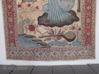 "Very attractive 19th century Persian Khalamkari with an Inscription, 2.49m x 1.27m, (8'2"" x 4'2""). Available"