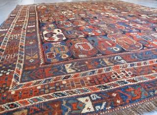 "Very attractive antique Khamseh Rug, 2.00m x 1.70m (6' 7"" x 5'7""). Great design.  www.aaronnejad.com"