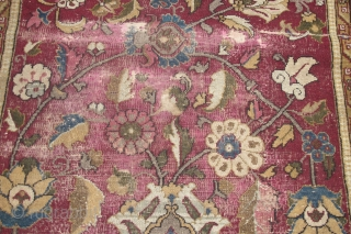 """I have just re-discovered this beautiful Indian carpet in my dusty corner. Size is 3.05m x 1.38m (10' x 4'6""""). The red is probably a corrosive red dye, reduced in length. But  ..."""