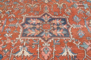 "Unusual Heriz Carpet, 3.52m x 2.72m (11'7"" x 8'11"") medallion but no spandrels. Good age and attractive colouring. Expressive drawing. It's a very nice example."