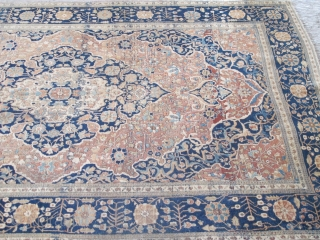 "Mokhtashem Kashan Rug, 1.98m x 1.30m (6'7"" x 4'3"") Velvety 'Kurk' wool and a fine weave, high knot count. Subtle colours and a restrained elegant design. Very good pile, very minor restoration  ..."