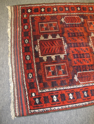 Timuri Belouch Rug, 19th century 1.94m x 1.23m including flatweave ends. Very interesting elements, including a great border. Lustrous wool, wonderful dyes, retains its original ends. Some minor moth damage and repaired  ...