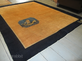 "Art Deco Chinese Carpet 3.45m x 2.73m (11'3"" x 9') with a distinctly nautical theme. Four elements decorate the entire carpet; a sampan and seagull in the abrashed salmon field,and 2 sea  ..."