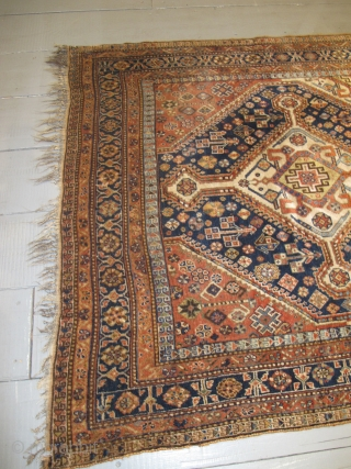 """19th century Qashqai Rug, 2.83m x 1.56m (9'3"""" x 5'2"""") very soft wool, beautiful colours and in excellent original condition."""