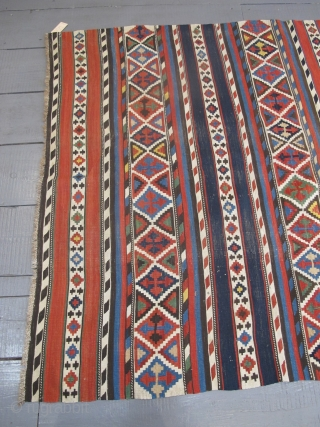 "Fine 19th century Caucasian Kilim with very happy colours, 2.85m x 1.49m (9'3"" x 4'11"")."
