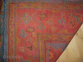 "Oushak carpet, western Anatolia, circa 1890, 3.43m x 2.18m (11'3"" x 7'2""). A lovely carpet with good colour, well spaced design and good fleecy wool. In excellent condition. Clean and ready for  ..."