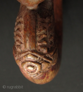 """Khmer Rice Cutter: Nice old rice sickle from Cambodia with decorative mystical serpent """"Naga"""" head. This is pre Khmer Rouge circa 1950s to 1960s. Overall good condition: blade is still sharp but  ..."""