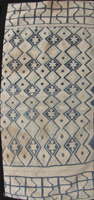 Antique cotton blanket section, from the Chinese Tujia minority, circa late 19th/early20th century. All hand spun threads with heavy weave and undyed white background and two shades of indigo geometric pattern. No  ...