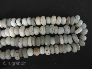 """Ming Dynasty Beads: Strand of Yuan to Ming Dynasty white """"milk"""" glass trade beads excavated from the Tak Hilltop burial site along the Thai Burmese border. These can be dated to the  ..."""