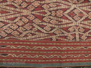 "Sarawak Dayak Skirt: Fine old Iban Bidang circa 1920 with intriguing ""water strider"" motif, there are a few deer (rusa) and a spirit figure in this pattern as well. Collected in Sarawak  ..."