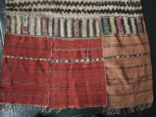 Rawang Nung Men's Blanket  Rare and unusual 3 paneled tufted blanket from the Rawang ethnic group in the Kachin State, Burma. The field is woven from bast fiber (possibly hemp), the reddish head  ...