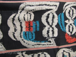 Old and rare Angami Naga shamilami design, three paneled wrap woven by the Meitei of the Manipur State of India and used as a trade/tribute cloth to the Nagas. Made from very  ...