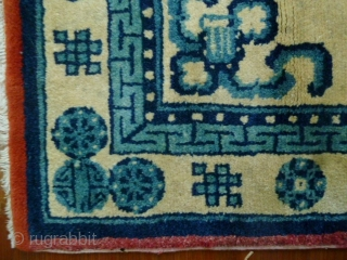 Nice old (circa 1920) Baotou carpet with classic Chinese auspicious symbols. Very supple with shiny wool, the red head ends have been rewoven but other than that no other significant issues. L:  ...
