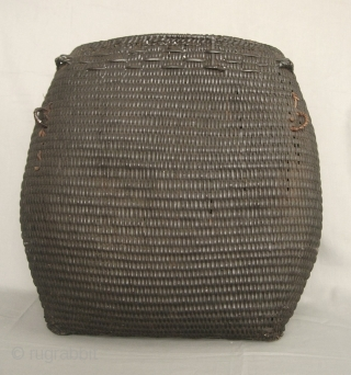 "South East Asia: Magnificent all rattan hand woven Rawang ""san phi"" basket, from the remote Putao area, Northern Burma near the Tibetan border. This one is quite old circa 50- 80 years,  ..."