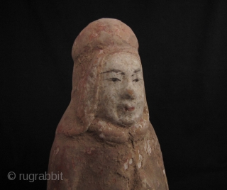 Tang Dynasty Soldier: Good Tang clay figure of a soldier, about 60% of the original pigment intact- no repair. H: 21.5cm/8.5in.