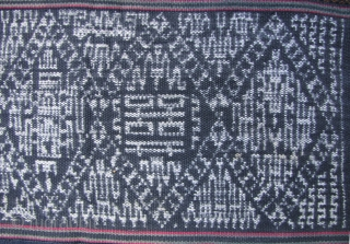 Li Woman's Skirt: Fine and rare five paneled skirt, from the Meifu subgroup of the Li people Hainan Island, circa mid 20th century. This kind of ikat textile is unique among Chinese  ...