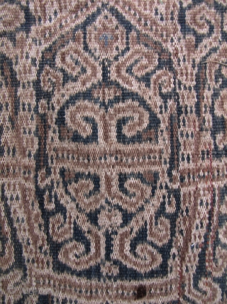 Dayak Sarong: Lovely Iban woman's kain skirt from near Kapit, circa 1950s, with bangkit (wild mango) fruit pattern, signifying fruitful abundance. Apart from the inevitable few pin holes and a couple of  ...