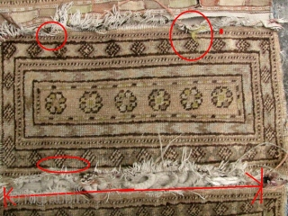 Xinjiang Chinese Saddle Bags: Complete set of horse/donkey bags circa late 19th to early 20th century. Please see enlargement 3#- the flat weave edge on one panel is missing and the central  ...