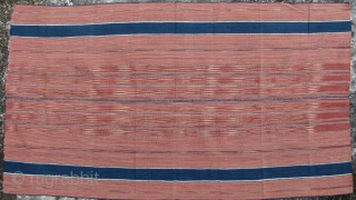 Karen Women's Skirt: Ikat sarong from the upland Karen (Pwo or Sgaw) ethnic group in Northern Thailand. This is woven from all handspun cotton thread and natural dyes. Acquired in the 1980s,  ...