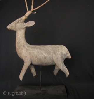 Thai Temple Deer: Graceful vintage Lanna Thai wood carving of a deer. The deer is a significant theme in Thai temples because of Buddha's first teaching was at Sarnath (Deer Park). This  ...