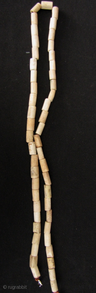 Chinese Neolithic Jade Beads: One strand of ancient calcified jade nephrite, tube beads, circa 2500 BCE. Total of 50 beads, average bead length is 9mm and diameter of 5mm, length in total  ...