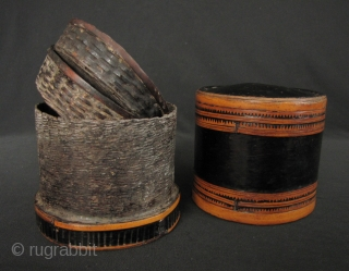 "Karen Betel Container: Very fine lacquer ""siri"" box from the Karen ethnic group in Northern Thailand. This has thick application of black lacquer and a fine naturally aged patina- circa 50 to  ..."
