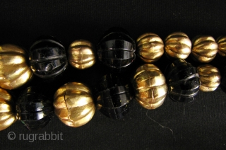 Sri Lanka Gold and Glass Beads: Gorgeous strand of circa 19th century Sri Lankan gold washed sliver and cut glass cobalt blue beads. I was recently in Sri Lanka and must have  ...