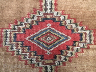 Early 20th century Gabbeh wide runner. All natural dyes about 6cm missing off the ends and one old repair. L: 262cm/103 and W: 103cm/40.5in. There is some simple Arabic script at the  ...