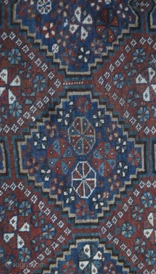 Caucasian Shirvan Carpet: Circa 1880 rug. This has been restored and repaired over the years so examine the enlargements closely. This has been reselvedged and head ends have been stabilized. The drawing  ...