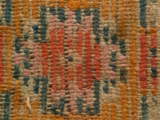 Tibet Carpet: Nice old Tibetan rug with wool warp and weft. The knots are quite big which gives a pleasant folksy feel. There is one hole and a small tear on the  ...