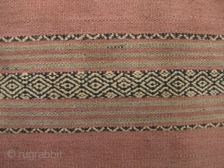 Semi antique, large woman's sarong from the Stieng/Xtiêng ethic group Vietnam. Over 60 years old, this is woven from all handspun cotton threads. There is a patch, 7cm x 2cm fray on  ...