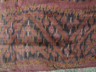 Cambodian Textile- Sampot Hol: Special Collector's Offer- reduced from $800 to $400: Rare antique silk Khmer ikat lower garment. H: 90cm/35.5in L: 2.1m/7ft10in. with a twill weave; unique among Southeast Asian textiles.  ...