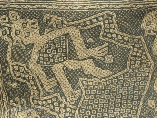 Penan Mat: Rare and unique large Penan mat with human headed snake spirit motif. This piece was sourced from an Iban longhouse in Kampong Yamok, Kapit District, Sarawak, Malaysia. The pattern is  ...