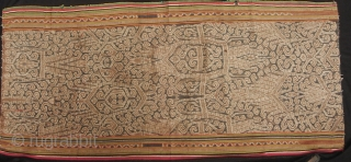 Iban woman's skirt (kain) from Sarawak,  depicting the tree of life with bamboo running the length of bidang. There is some fraying on the selvedge noted in enlargement 9#, it is  ...