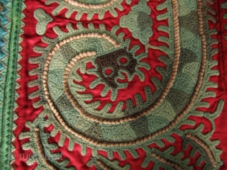 Miao Taigong Embroidered Panels: Stunning pair of green dragon motif sleeve panels from the Taigong Miao community Guizhou, China. These were acquired in Beijing about 15 years ago and are mounted on  ...