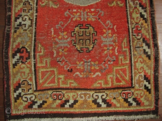 """Xinjiang Rug  Good early 20th century """"Khaden"""" carpet, from Chinese Turkestan. The head ends have been stabilized- with about 2 cm missing on one end and a couple of minor repairs, otherwise good  ..."""