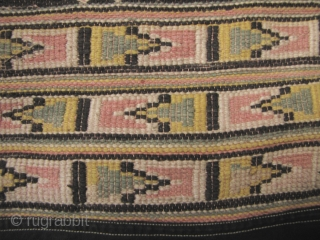Tujia wedding blanket: Very rare three paneled Tujia blanket from Guizhou, China circa 50 to 70 years old (possibly older). Made with all handspun cotton threads (the green and yellow appear to  ...