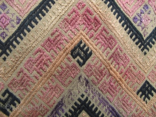 "Bouyi Blanket: Lovely Bouyi child's blanket panel circa first half 20th century, with rare ""dog meander"" pattern bands outlining the central diamond medallions. Some minor loss to silk supplementary embroidery- otherwise good  ..."