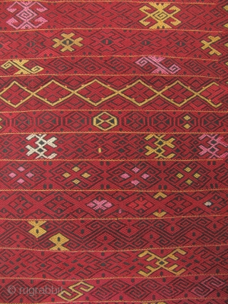 """Kachin Skirt: Fine and rare Jinghpaw (aka Jingpo in China) """"pukhang"""" heirloom wrap around skirt from Burma's northern most state of Kachin. This piece is woven in three panels from two ply  ..."""