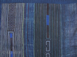 Hmong Miao Indigo Blanket: Wonderful indigo, embroidered and batik blanket from the Hmong in Sapa, northwestern Vietnam. This is a huge piece L: 2.5m/98in and W: 1.74m/68.5in. A very functional item that  ...