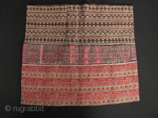 Chinese Li Minority Skirt: Fine and rare skirt group from the Li ethnic (Run speaking dialect) group Hainan Island. I acquired this piece on a trip to Hainan Island in 1987. This  ...