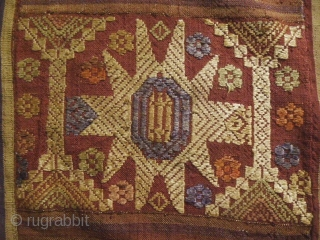 Tai Daeng Blanket: Lovely semi antique, circa 50 years plus, silk supplementary weft embroidered all and handspun silk blanket, from the Tai Daeng/Tai Dam ethnic group Laos. This piece is in very  ...