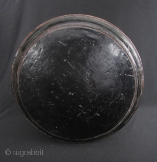 Large Khmer Lacquer Box: Nice old large black and red lacquered Cambodian box with basketry side. Most arts and crafts were destroyed during the Khmer Rouge's reign of terror and are just  ...