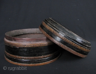 Khmer Lacquer Box: Nice old antique black lacquered bamboo and wood box from Cambodia circa 1950 or earlier. This part of a collection I acquired almost 20 years ago. Khmer lacquer is  ...