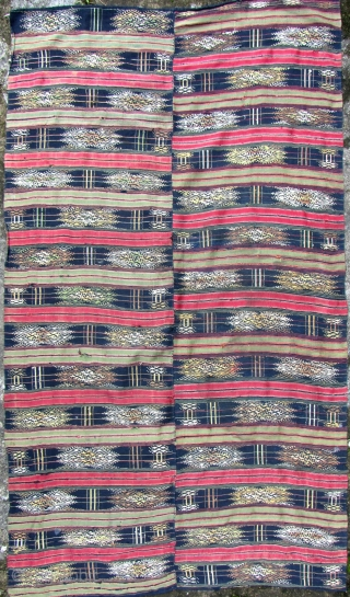 Rare antique two paneled bed cover from the Daizu ethnic minority of Southern Yunnan, China. An unusual piece with very fine silk embroidery and woven field with what may be hemp/ramie handspun  ...