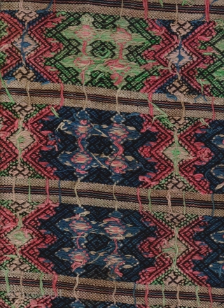 Miao Textile: One of kind, single, supplementary weft embroidered panel, L: 4.63m/14.2ft and W: 36.5cm/13.8in, from Guizhou, Southwest China. Its function is a bit of mystery so it being a sling wrap  ...