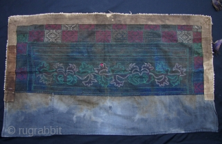 Two Semi Antique Chinese Miao Women's Aprons: The larger one is. L: 106cm/41.8in and W: 59cm/23in. All the elements in this piece are hand made, even the ribbon along the border  ...
