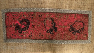 Wholesale Dealer's Special: 8 table runners with vintage/antique Miao embroidered panels in the center. Lengths are 2 meters(plus or minus). 6 have hemp or bast fiber backings and two are satin. All  ...