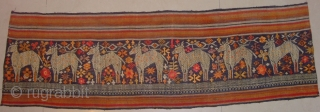 Skirt hem band very intricately woven in silk supplementary weft on black cotton. Excellent condition.