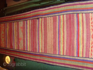 outstanding mosquito net border fine silk supplementary weft on a silk background,highly ornamented with stylized animals figures and variety of designs, edging is striped cotton. Excellent condition.    Lao Tai.   Minority group Laos, Vietnam,  ...